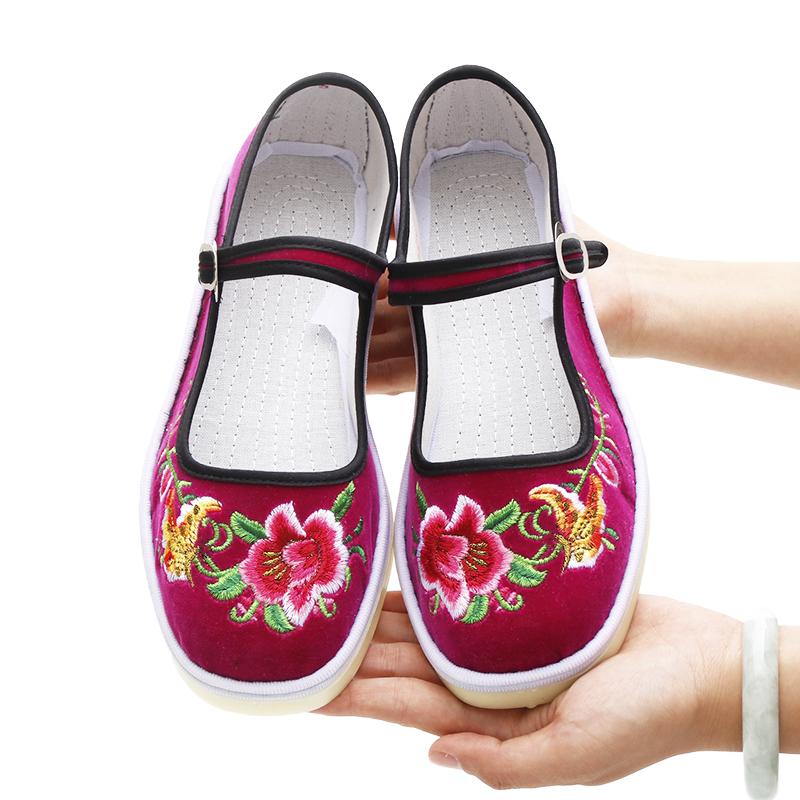 民族风老北京绣花鞋女布鞋绿色花布鞋结婚舞蹈演出用平底棉布鞋子