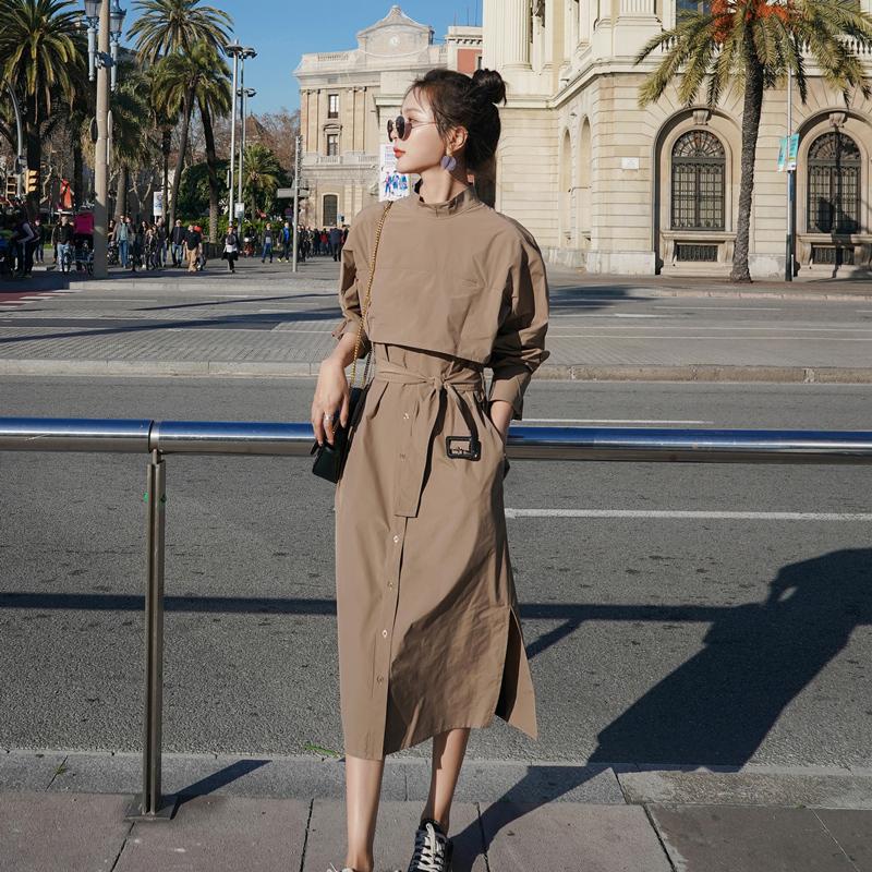设计感棉质纯色立领收腰显瘦连衣裙2020秋季新款复古气质两穿裙子