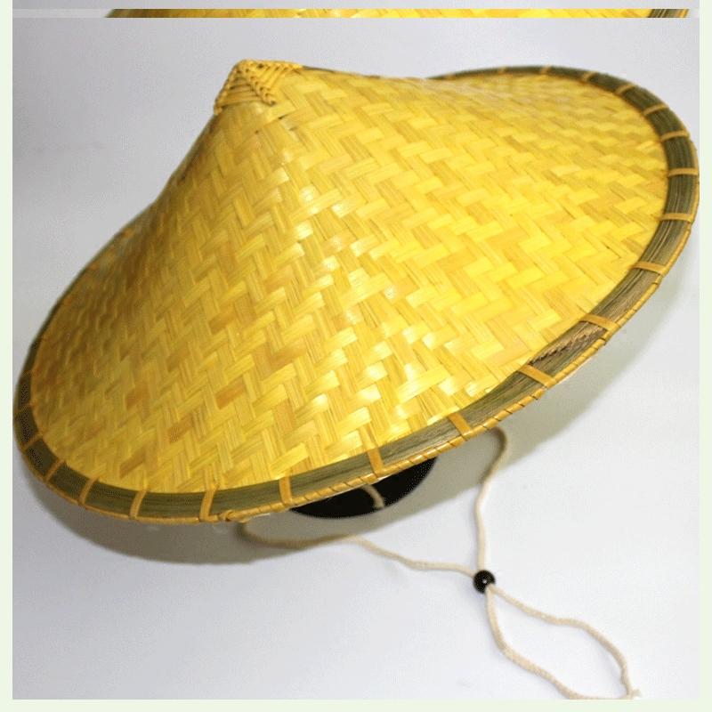 竹编斗签帽斗笠帽防雨大号斗立帽草帽男女工地竹帽农夫农用遮阳。