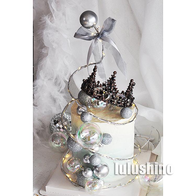 烘焙蛋糕装饰 金属球蝴蝶结圈圈树装扮摆件 华丽女神生日蛋糕装扮