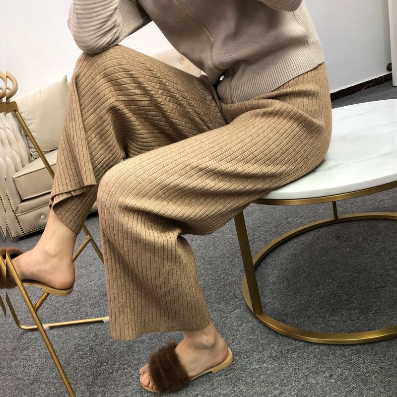 Wear cashmere knitted wide leg pants womens casual wide stripe wool trousers spring and autumn new high waist wool pants