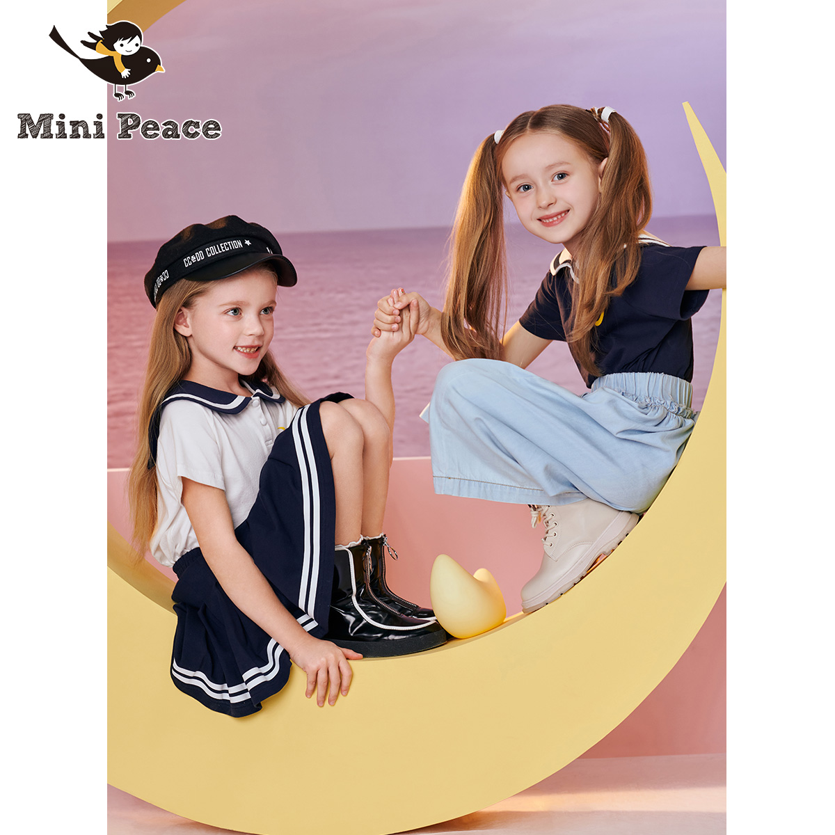 Minipeace taipingniao Girls College style Navy collar T-shirt spring new children's cotton short sleeve