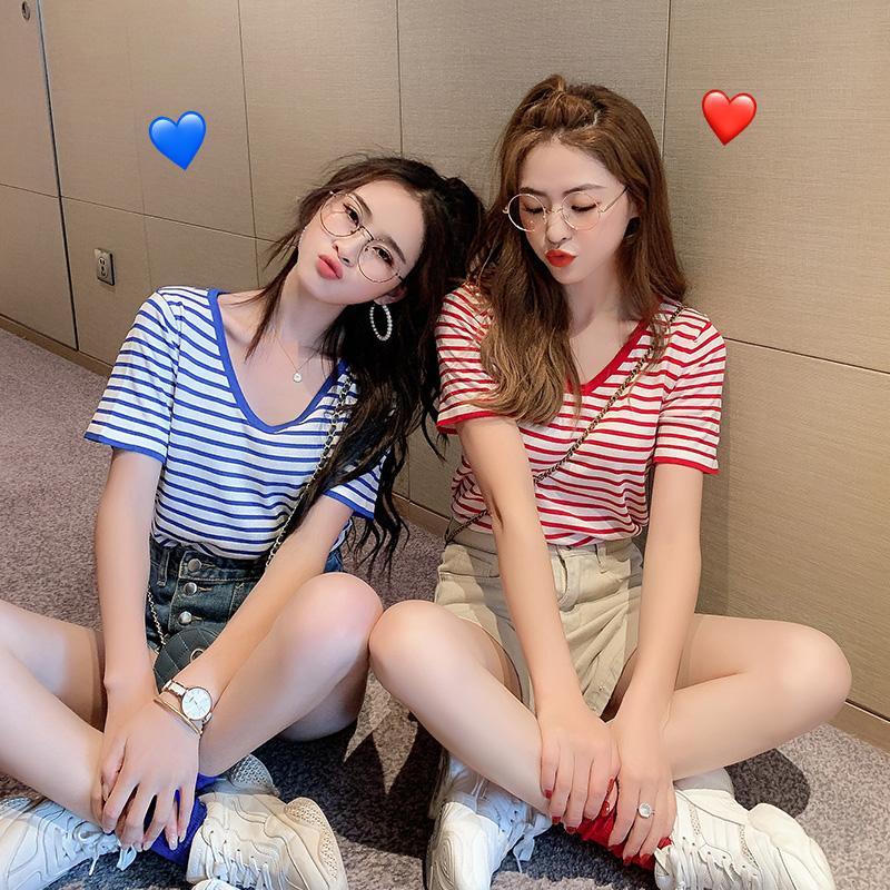 蓝色横条纹冰丝2019夏季红白t恤