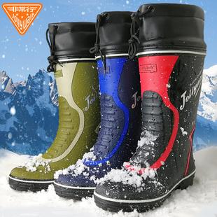 防水防滑时尚 雨鞋 男士 潮流钓鱼雨靴 高筒秋冬保暖加绒水鞋 外穿套鞋