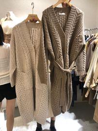 韩国东大门2020秋冬新款慵懒风纯色中长款麻花纹针织羊毛开衫大衣