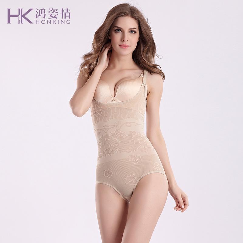 鸿姿情无痕连体塑身衣束腰收腹内衣女夏薄款瘦身美体衣WS5501