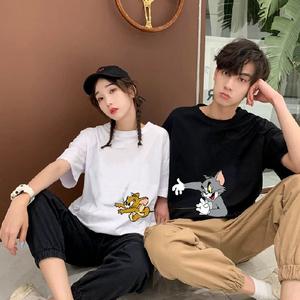 CX5424# 最便宜服装批发 宽松中长款情侣装夏季韩版猫和老鼠ins超火短袖港风T恤潮