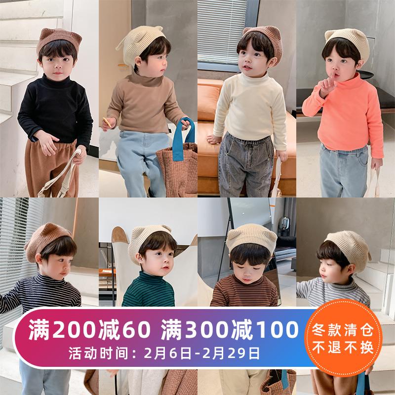 棉小班童装儿童加绒打底衫男童加厚保暖洋气T恤宝宝纯色高领上衣