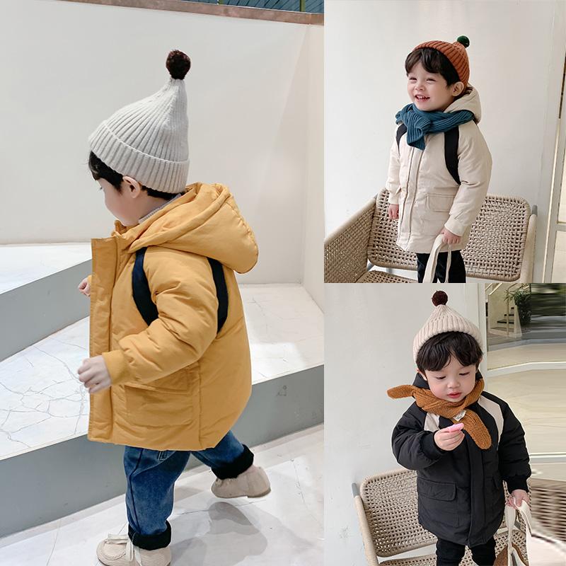 棉小班童装男童棉服冬装外套2019 新款韩版儿童加绒加厚长款棉衣