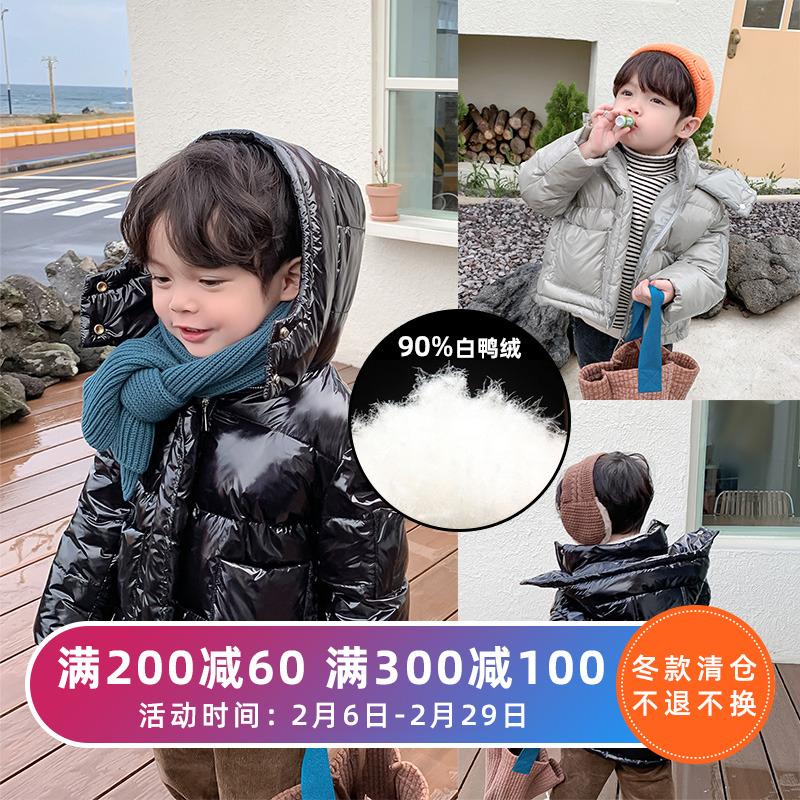 棉小班男童羽绒服2019新款儿童白鸭绒洋气保暖短款外套连帽冬装潮