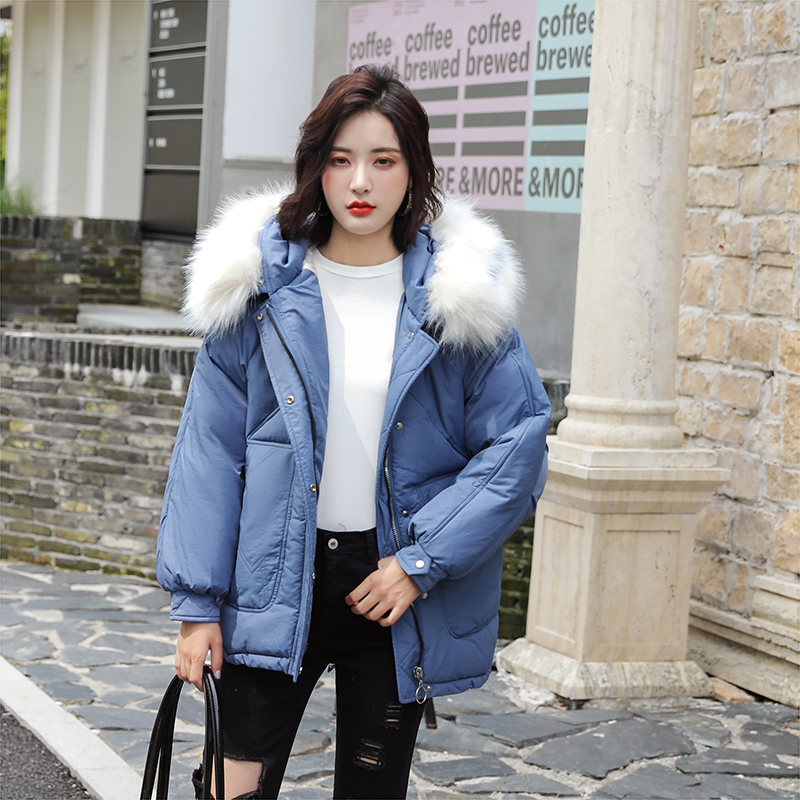 實拍2019秋冬新款羽絨棉服女韓版短款寬松加厚大毛領學生棉衣外套