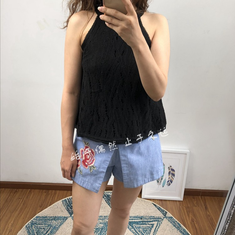 Retro fashion casual Street 2021 summer new womens embroidered cotton casual vertical stripe shorts hot pants