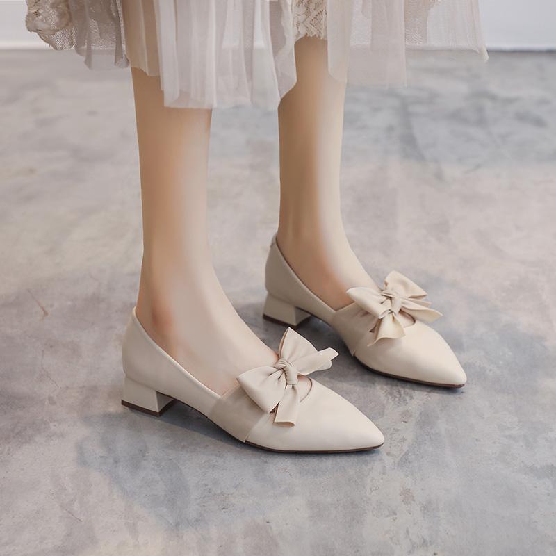 2021春季新款浅口尖头仙女晚晚风温柔鞋早春蝴蝶结中跟粗跟单鞋女