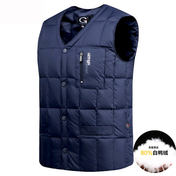 Lightweight and ultra-thin collarless down jacket waistcoat mens collar waistcoat