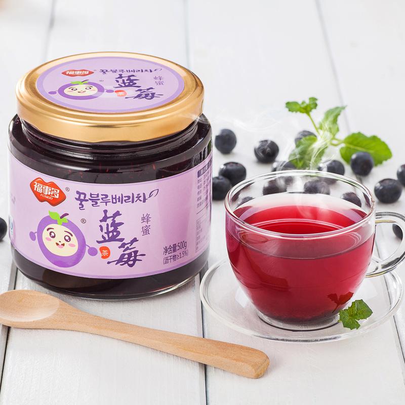 ^~買2瓶送木勺^~福事多蜂蜜藍莓茶500g 瓶 韓式蜜煉醬水果茶衝飲品