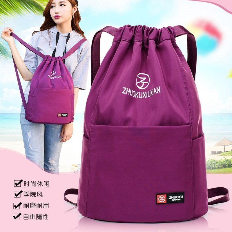 Oxford canvas bag double shoulder womens lightweight backpack waterproof closure travel, large capacity leisure fabric travel.