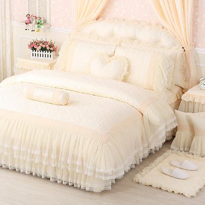 公主风床上四件套床罩床裙款纯棉床单被套春夏欧式蕾丝花边夹棉黄