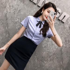工作服女套装衬衫夏季气质短袖套裙