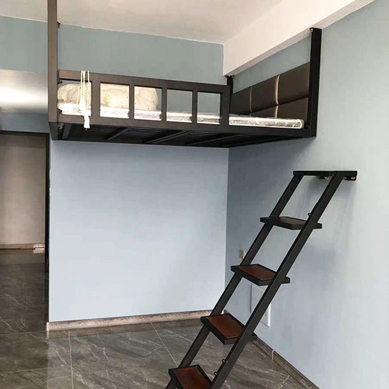 Provincial space Pavilion bed elevated bed sheet upper bed lower table small apartment bed iron frame bed duplex second floor bed