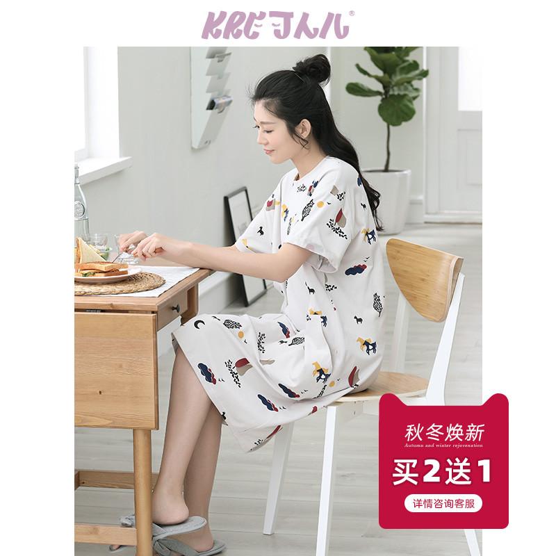 可人儿睡衣女士纯棉夏天甜美可爱圆领短袖家居服韩版夏季全棉睡裙
