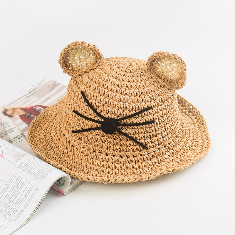 Yu Guas cartoon hollow out sun shading straw hat mouse whisker nose cute ear hat soft foldable childrens hat
