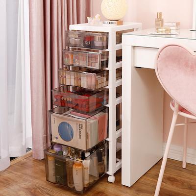 网红抽屉式化妆品收纳盒防尘口红置物架桌面办公桌透明护肤品整理