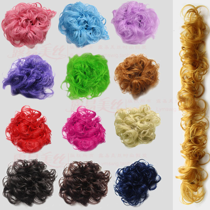 Performance of colorful hair circle, caterpillar wig, curly hair, female flower bud, coiled hair, fluffy and winding style