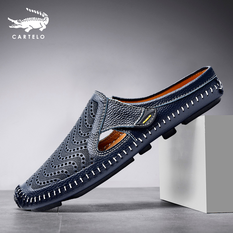Crocodile Baotou sandals men's head layer cowhide wearing lazy slippers without anti-slip hole sleeper