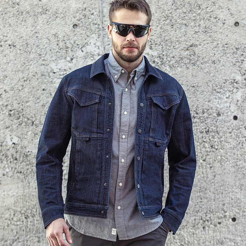 Longya battle riding denim jacket spring and autumn men's Lapel coat trend tooling