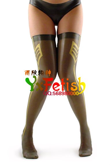 New special glossy transparent black sexy latex stockings ultra thin rubber leg socks all inclusive latex weight loss socks
