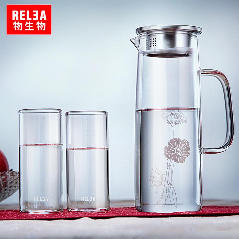 物生物涼水壺玻璃壺透明水具飲料果汁壺大容量涼杯玻璃水壺冷水壺