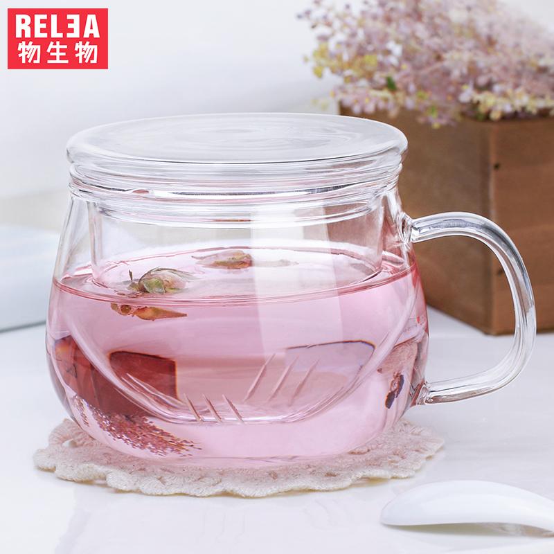 物生物玲瓏杯 耐熱 夏天水杯玻璃杯帶蓋女 過濾花茶杯透明杯子