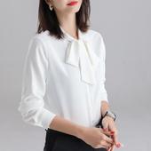 2019新款 洋气白色上衣职业装 飘带雪纺白衬衣 蝴蝶结衬衫 女春秋长袖