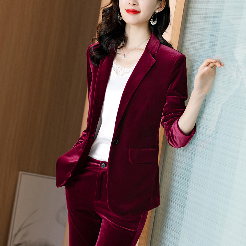 Red velvet suit jacket female spring and autumn high-end professional wear spring 2021 top gold velvet small suit
