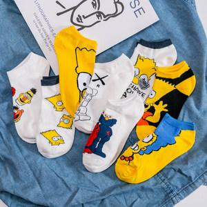 袜子男ins潮短袜女低腰纯棉短款卡通动漫春夏季运动薄款韩版船袜