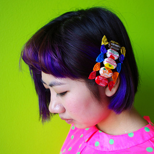 Independent designer coffee fruit rainbow candy sweet candy edge clip banana clip hair accessories