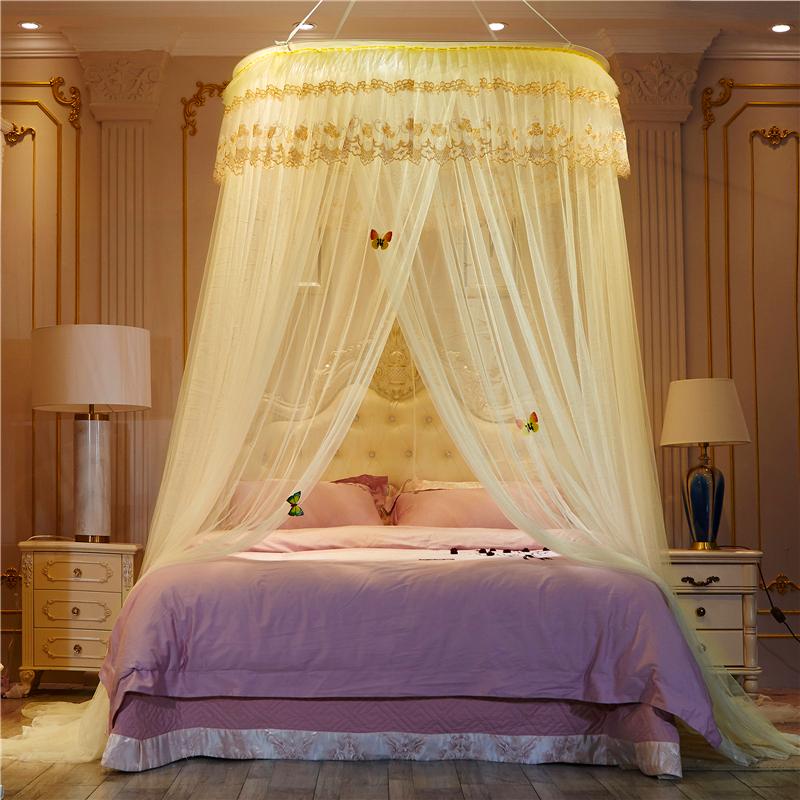 圆顶蚊帐吊顶1.8m床1.5米纹账家用新款公主风加密加厚1.2免安装2