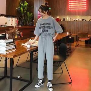 夏季韓版學生寬松字母短袖T恤+直筒九分褲休閑運動兩件套裝女士潮
