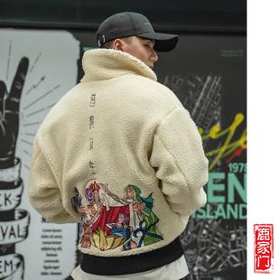 潮流外套加厚正反两穿夹克上衣男 刺绣羊羔绒男装 新款 BD鹿家门秋季