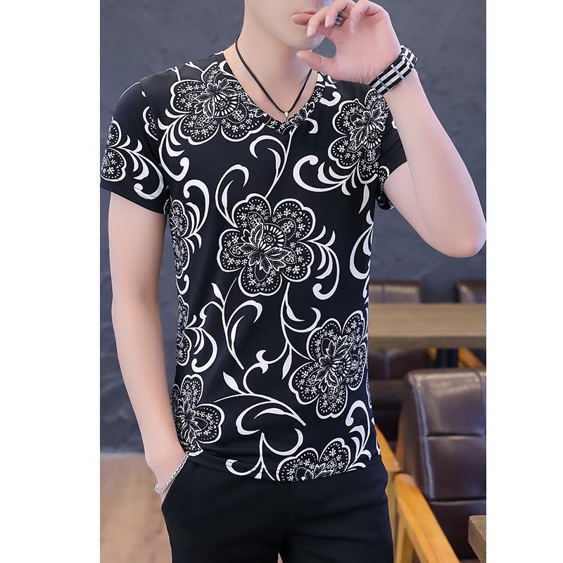 夏季短袖男T恤2019新款衣服韩版修身冰丝打底体恤男士潮半袖上衣