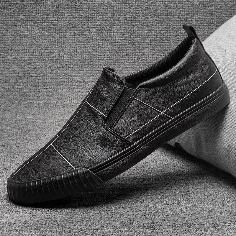 板鞋男2020秋季新款低帮男士休闲皮鞋英伦百搭懒人一脚蹬皮面潮鞋图片