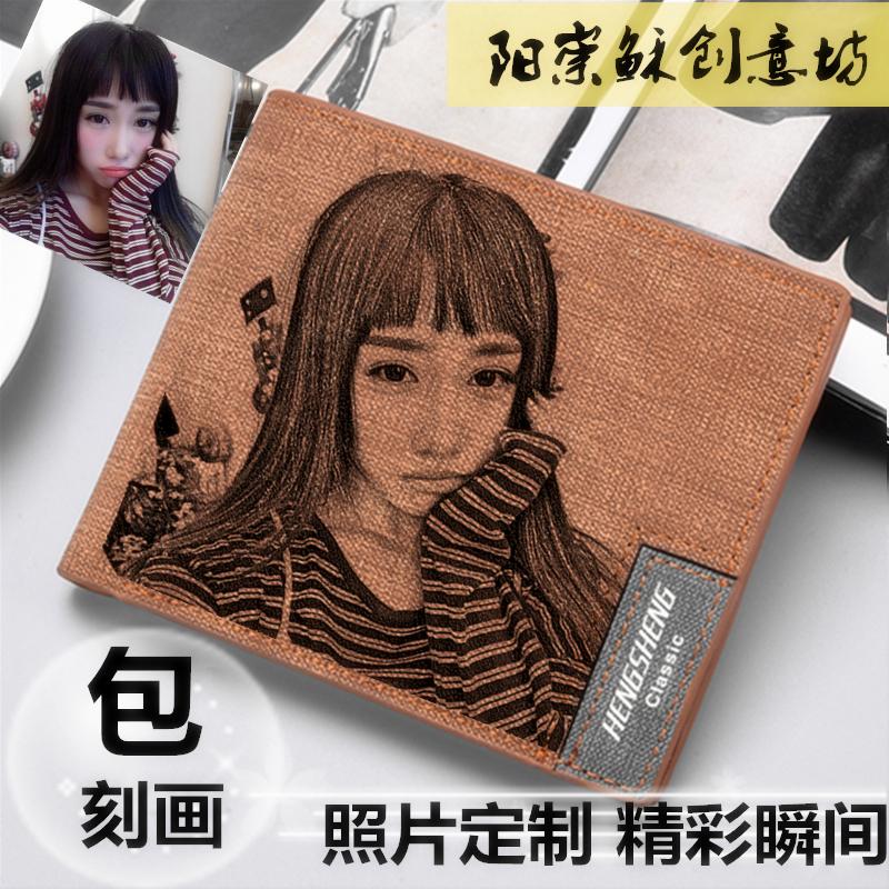 Wallet mens trendy brand fashion short photo customization depiction lettering trendy brand fashion creative Retro