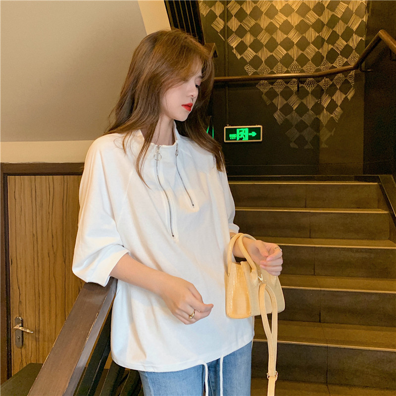 6535 cotton light mature wind thin solid color 7 / 3 sleeve Sweatshirt summer net red small high neck T-shirt issued by women