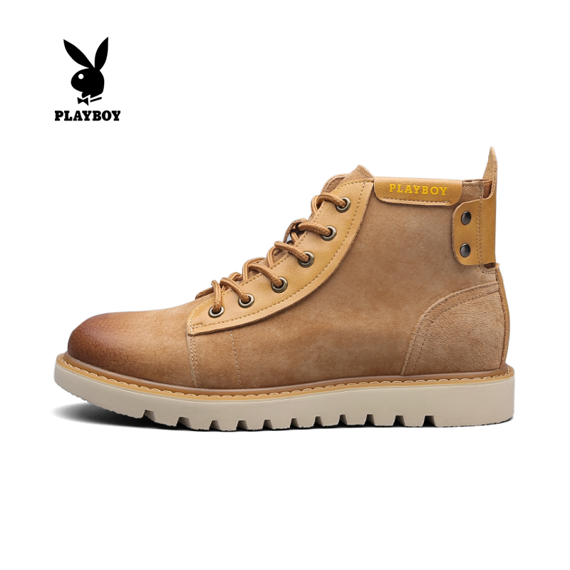 Playboy mens shoes spring and summer Martin boots mens leather British style big head Work Boots Mens high top Plush fashion