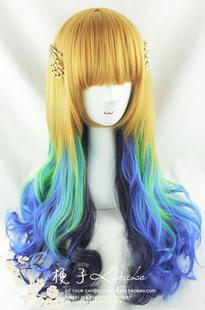 Киоко парик Харадзюку океан Мечта льна золото / свежий зеленый / голубой / темно-синий четыре цвета градиента