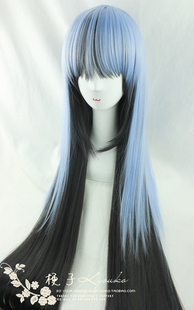 Kyouko wig cosplay slick Ghost Sun Oikawa ice Lai Xuenv blue black color mixing