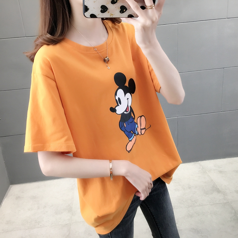 Summer 2020 new loose white short sleeve Mickey T-shirt girl Mickey Mouse print student top fashion