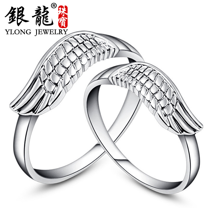 S925 Silver Angel Wings couple ring men and womens hand ornament headdress