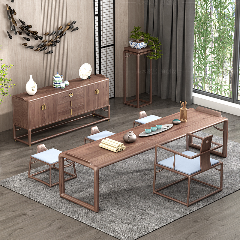 New Chinese solid wood tea table and chair combination log household tea making table tea table black walnut tea table Zen modern simplicity