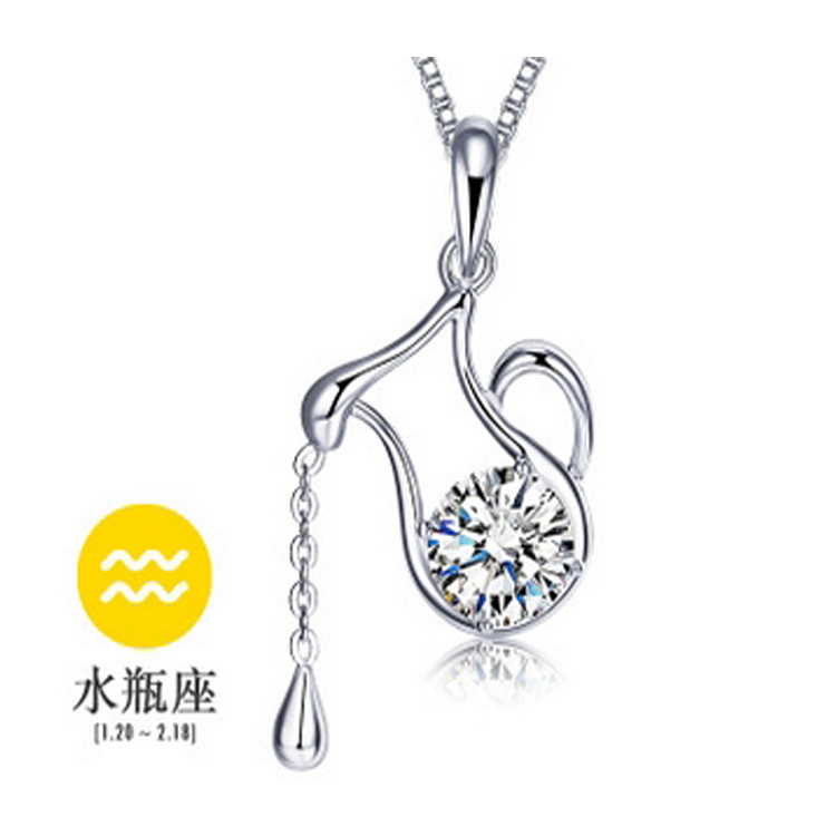 S925 Sterling Silver 12 constellations Aquarius clavicle diamond chain Valentines day birthday group birthday gift package